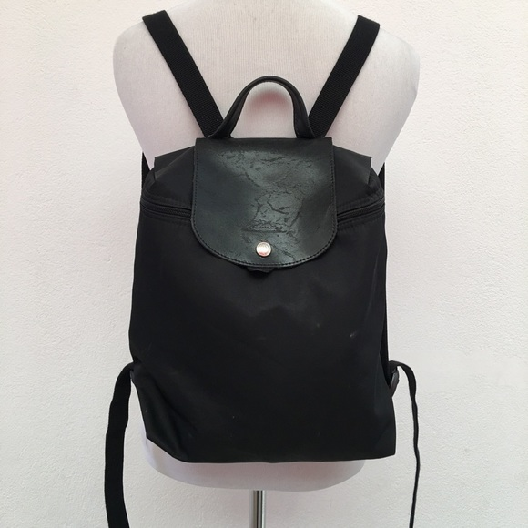 a35f96e22986 Longchamp Handbags - Longchamp Black Nylon and Leather Black Backpack